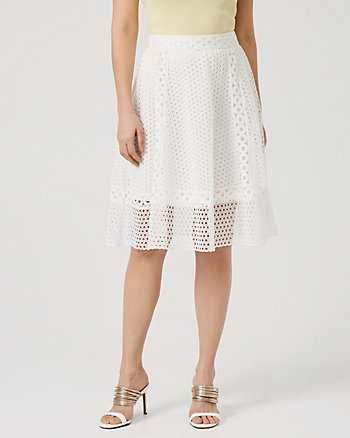 Eyelet Lace Flared Skirt