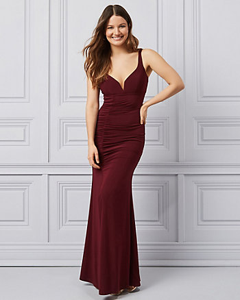Knit Sweetheart Neckline Gown