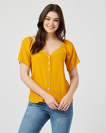 Viscose V-Neck Short Sleeve Blouse