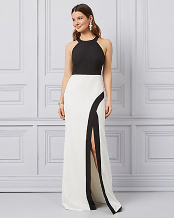 Colour Block Bi-Stretch Twill Halter Gown