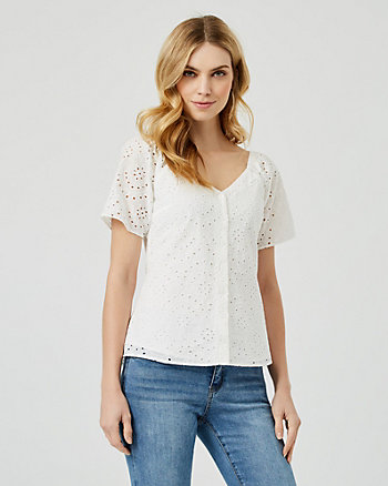 Cotton Eyelet Short Sleeve Blouse