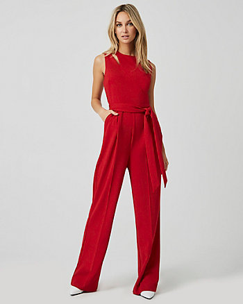 Knit Crêpe Slit Neck Jumpsuit