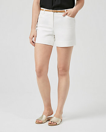 Belted Cotton Blend Shorts