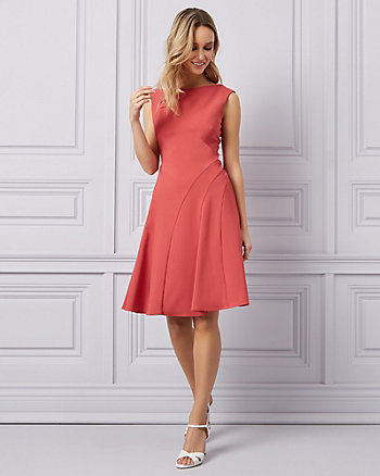 Twill Cutout Fit & Flare Cocktail Dress