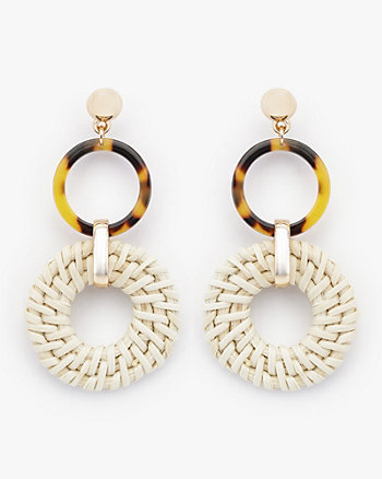 Straw & Acrylic Circular Drop Earrings