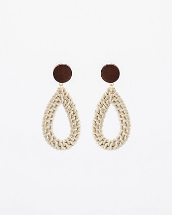 Straw & Metal Drop Earrings