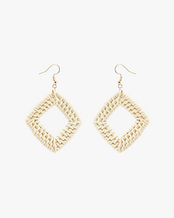 Straw Diamond Drop Earrings