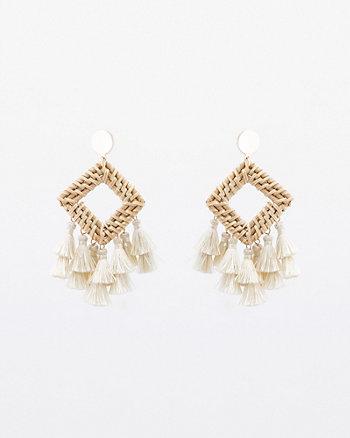 Straw Tassel Drop Earrings