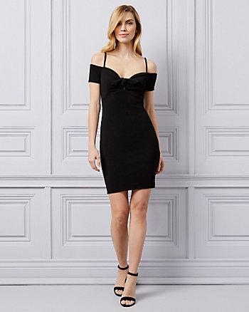 Pebbled Knit Off-the-Shoulder Dress
