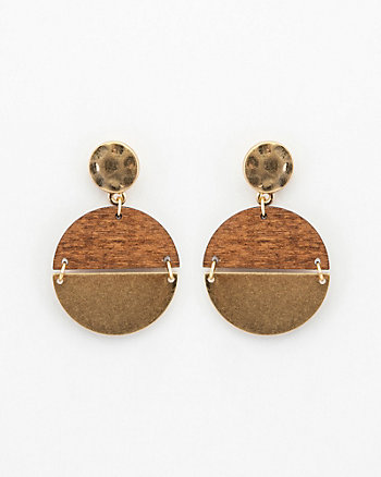 Metal & Wood Drop Earrings