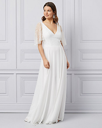 Lace & Chiffon Cape Sleeve Gown