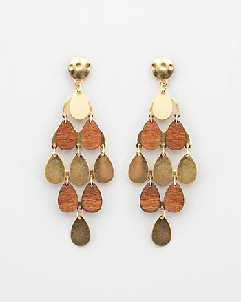 Metal & Wood Chandelier Earrings