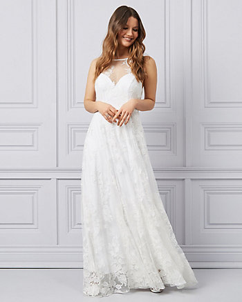Embroidered Tulle & Knit Illusion Gown