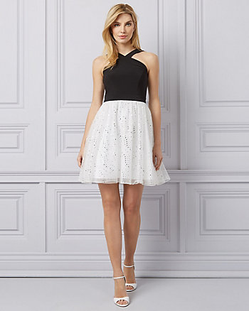 Dot Print Tulle Fit & Flare Dress