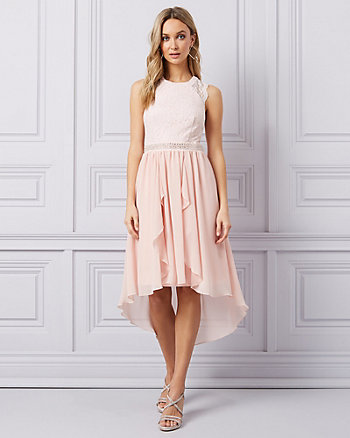 Lace & Crêpe High-Low Cocktail Dress