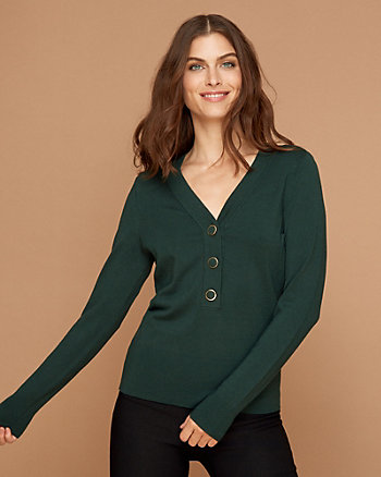 Viscose Blend Henley Sweater
