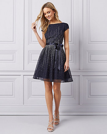 Sparkle Mesh & Tulle Fit & Flare Party Dress