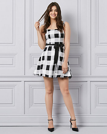 Gingham Sateen & Tulle Fit & Flare Party Dress