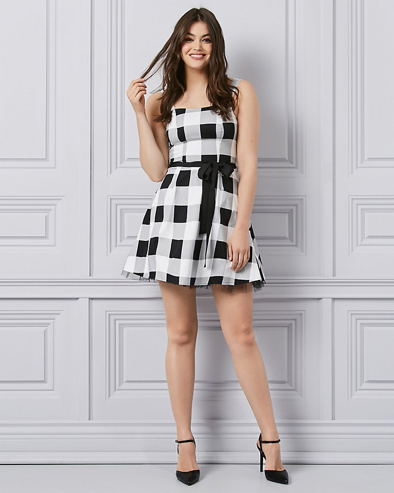 54b59ee7 Gingham Sateen & Tulle Fit & Flare Party Dress | LE CHÂTEAU