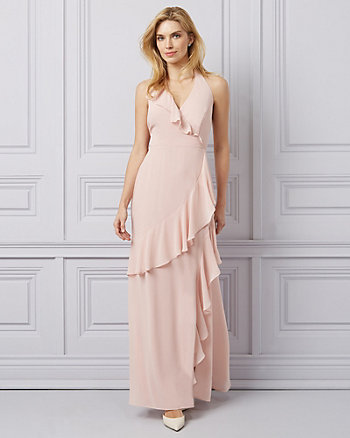 Chiffon V-Neck Ruffle Wrap-Like Gown