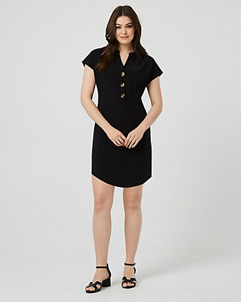 Crêpe de Chine V-Neck Tunic Dress