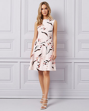 Floral Print Twill Cutout Scoop Neck Dress