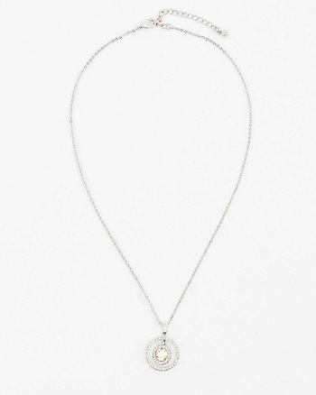 Cubic Zirconia Encrusted Pendant Necklace