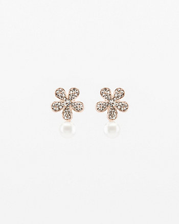 Gem & Pearl-Like Floral Stud Earrings