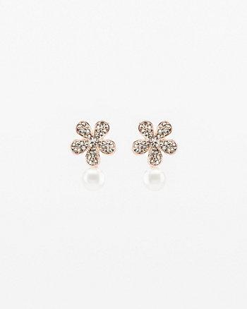 Gem & Pearl-Like Floral Stud Earrings