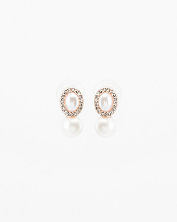 Gem & Pearl-Like Oval Stud Earrings