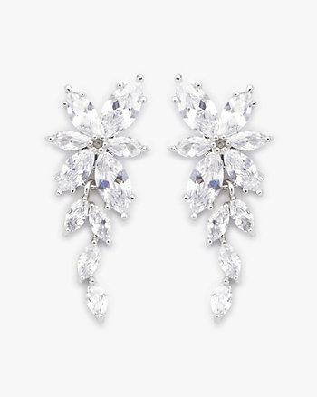 Cubic Zirconia Encrusted Floral Earrings