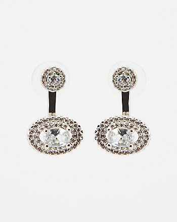 Cubic Zirconia Encrusted Oval Earrings