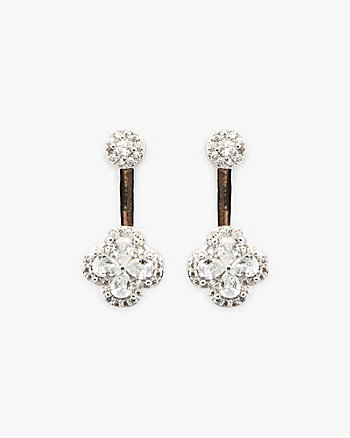 Cubic Zirconia Encrusted Floral Earrings