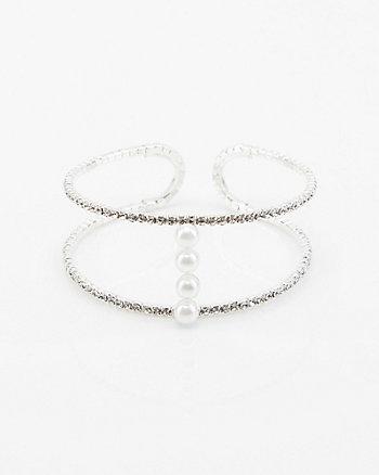 Gem & Pearl-Like Cuff Bracelet