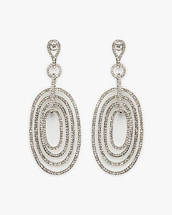 Gem Encrusted Oval Drop Earrings