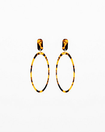 Leopard Print Oval Drop Earrings
