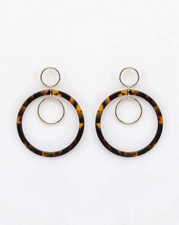 Tortoise Double Hoop Drop Earrings