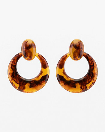 Tortoise Oval Drop Earrings