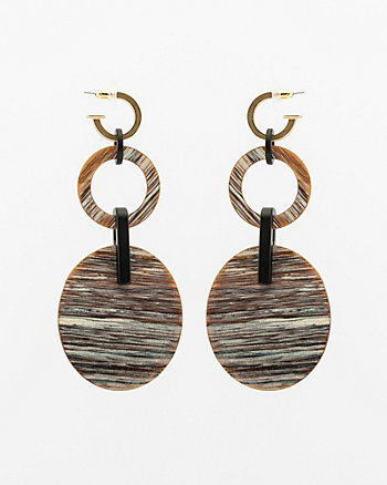 Coconut Oval Drop Earrings