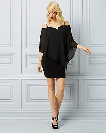 Chiffon Off-the-Shoulder Cape Dress