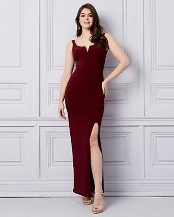 Knit Deep V-Neck Gown