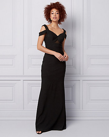Ottoman Knit Cold Shoulder Gown