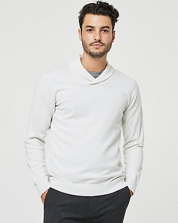 Cotton Shawl Collar Semi-Fitted Sweater