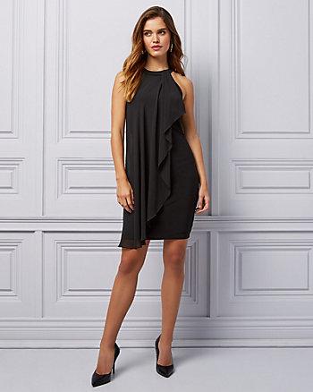 Knit & Chiffon Halter Cocktail Dress