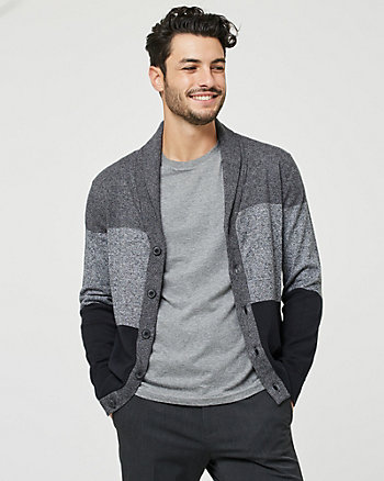 Stripe Cotton Shawl Collar Cardigan