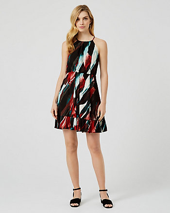 Abstract Print Viscose Halter Dress