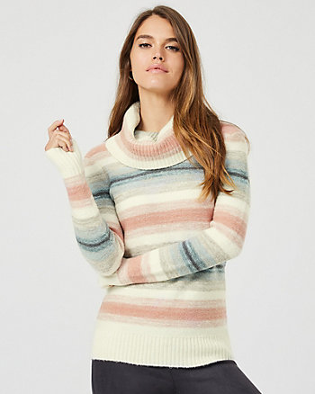 Stripe Knit Cowl Neck Sweater