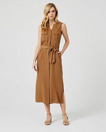 Belted Crêpe de Chine Maxi Dress