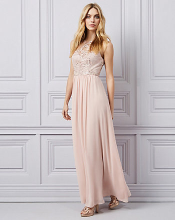 Embroidered Crêpe & Chiffon Illusion Gown