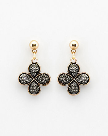 Gem Embellished Flower Drop Earrings